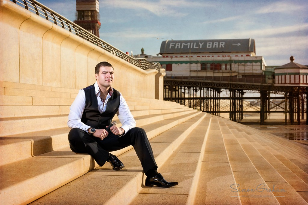 Lee Mobey Club Singer having a photo shoot in Blackpool