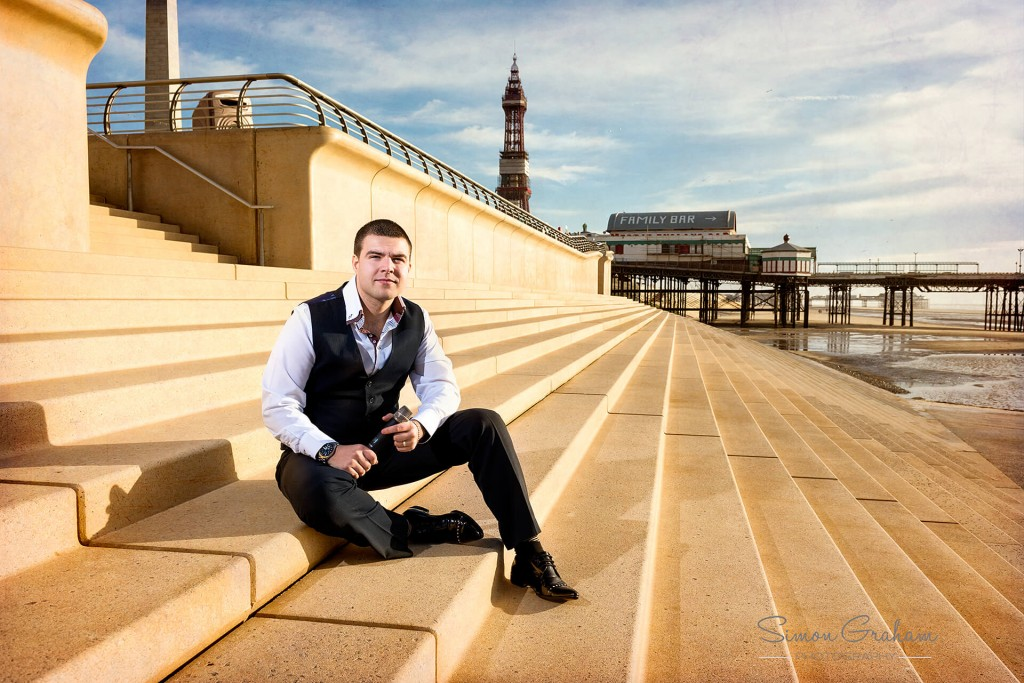 Lee Mobey Promo Shot showing Blackpool Tower and the North Pier in the background.